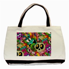Crazy Illustrations & Funky Monster Pattern Basic Tote Bag (two Sides)