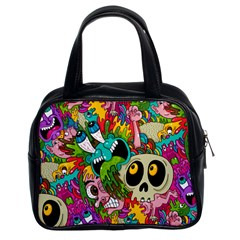 Crazy Illustrations & Funky Monster Pattern Classic Handbags (2 Sides)