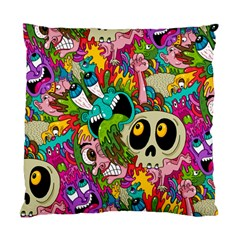 Crazy Illustrations & Funky Monster Pattern Standard Cushion Case (two Sides)