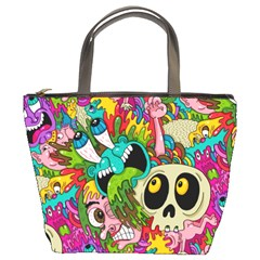 Crazy Illustrations & Funky Monster Pattern Bucket Bags