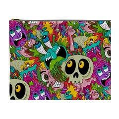 Crazy Illustrations & Funky Monster Pattern Cosmetic Bag (XL)
