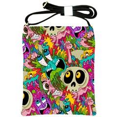 Crazy Illustrations & Funky Monster Pattern Shoulder Sling Bags