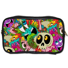 Crazy Illustrations & Funky Monster Pattern Toiletries Bags 2 Side
