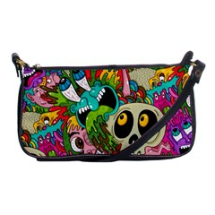 Crazy Illustrations & Funky Monster Pattern Shoulder Clutch Bags