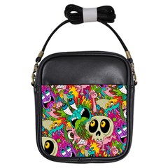 Crazy Illustrations & Funky Monster Pattern Girls Sling Bags