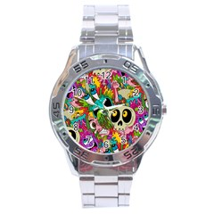 Crazy Illustrations & Funky Monster Pattern Stainless Steel Analogue Watch