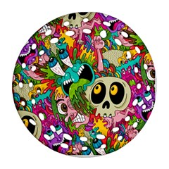 Crazy Illustrations & Funky Monster Pattern Round Filigree Ornament (Two Sides)