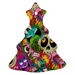 Crazy Illustrations & Funky Monster Pattern Christmas Tree Ornament (two Sides)