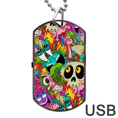 Crazy Illustrations & Funky Monster Pattern Dog Tag Usb Flash (two Sides)