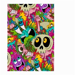 Crazy Illustrations & Funky Monster Pattern Small Garden Flag (two Sides)