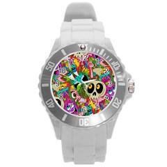 Crazy Illustrations & Funky Monster Pattern Round Plastic Sport Watch (l)