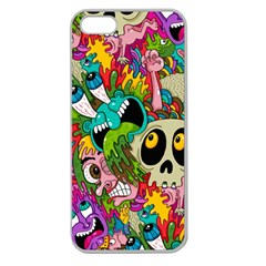 Crazy Illustrations & Funky Monster Pattern Apple Seamless iPhone 5 Case (Clear)