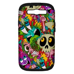 Crazy Illustrations & Funky Monster Pattern Samsung Galaxy S Iii Hardshell Case (pc+silicone)