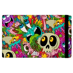 Crazy Illustrations & Funky Monster Pattern Apple Ipad 2 Flip Case