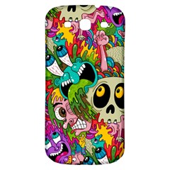 Crazy Illustrations & Funky Monster Pattern Samsung Galaxy S3 S III Classic Hardshell Back Case