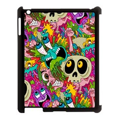 Crazy Illustrations & Funky Monster Pattern Apple Ipad 3/4 Case (black)
