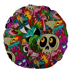 Crazy Illustrations & Funky Monster Pattern Large 18  Premium Round Cushions