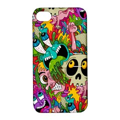 Crazy Illustrations & Funky Monster Pattern Apple Iphone 4/4s Hardshell Case With Stand