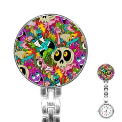 Crazy Illustrations & Funky Monster Pattern Stainless Steel Nurses Watch