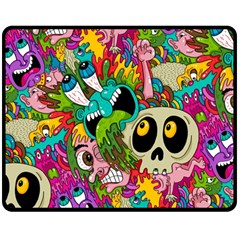 Crazy Illustrations & Funky Monster Pattern Double Sided Fleece Blanket (Medium)