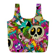 Crazy Illustrations & Funky Monster Pattern Full Print Recycle Bags (l)