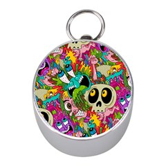Crazy Illustrations & Funky Monster Pattern Mini Silver Compasses