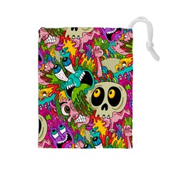 Crazy Illustrations & Funky Monster Pattern Drawstring Pouches (large)