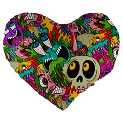 Crazy Illustrations & Funky Monster Pattern Large 19  Premium Flano Heart Shape Cushions