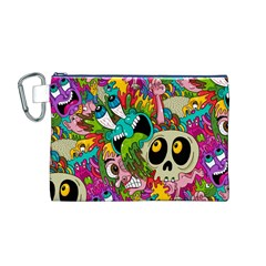 Crazy Illustrations & Funky Monster Pattern Canvas Cosmetic Bag (m)