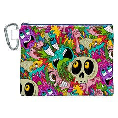 Crazy Illustrations & Funky Monster Pattern Canvas Cosmetic Bag (XXL)