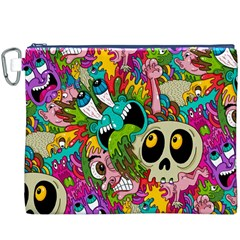 Crazy Illustrations & Funky Monster Pattern Canvas Cosmetic Bag (XXXL)