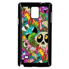 Crazy Illustrations & Funky Monster Pattern Samsung Galaxy Note 4 Case (black)