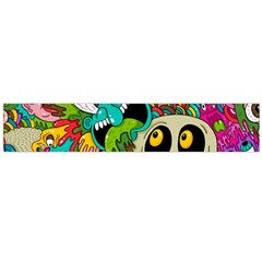 Crazy Illustrations & Funky Monster Pattern Flano Scarf (large)