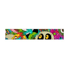 Crazy Illustrations & Funky Monster Pattern Flano Scarf (Mini)
