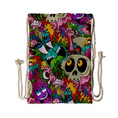 Crazy Illustrations & Funky Monster Pattern Drawstring Bag (small)