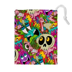 Crazy Illustrations & Funky Monster Pattern Drawstring Pouches (extra Large)
