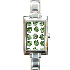 Leaf Pattern Seamless Background Rectangle Italian Charm Watch