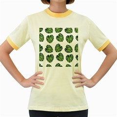 Leaf Pattern Seamless Background Women s Fitted Ringer T Shirts