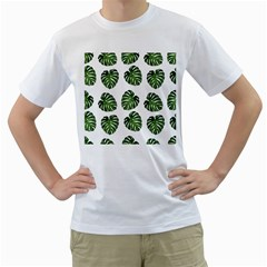 Leaf Pattern Seamless Background Men s T-Shirt (White) (Two Sided)