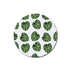 Leaf Pattern Seamless Background Rubber Round Coaster (4 Pack)