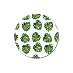 Leaf Pattern Seamless Background Magnet 3  (Round)