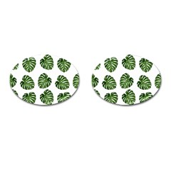 Leaf Pattern Seamless Background Cufflinks (Oval)