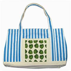 Leaf Pattern Seamless Background Striped Blue Tote Bag