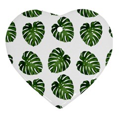 Leaf Pattern Seamless Background Heart Ornament (two Sides)