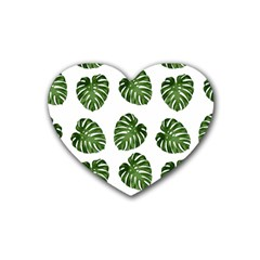 Leaf Pattern Seamless Background Heart Coaster (4 Pack)