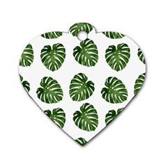 Leaf Pattern Seamless Background Dog Tag Heart (two Sides)