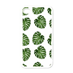 Leaf Pattern Seamless Background Apple iPhone 4 Case (White)