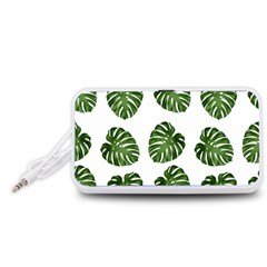 Leaf Pattern Seamless Background Portable Speaker (White)