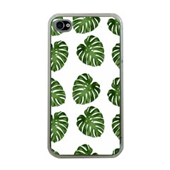 Leaf Pattern Seamless Background Apple iPhone 4 Case (Clear)