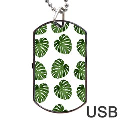 Leaf Pattern Seamless Background Dog Tag USB Flash (Two Sides)